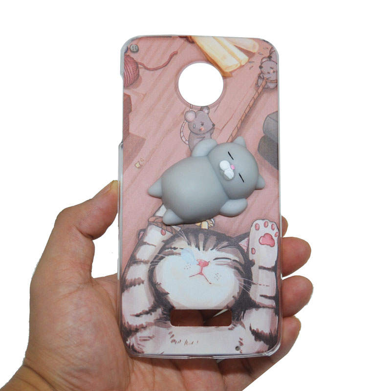 Abbery 3D Soft Lazy Cat Cute Animal Phone Case For Moto Z Play XT1635-03 /Z XT1650-05/Z2 Play /M XT1662 Fitted Case Back Cover