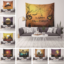 Halloween Printed Tapestry Wall Hanging Home Decor Polyester Pumpkin Party Night Moon Black Bedlinen Decoration Towel Tapestries
