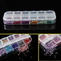 Brand New 12 Colors Round Mixed Color Nail Art Tips Sticker Clips Rhinestone Gems 2mm Glitters Box Manicure Hot