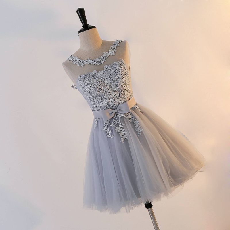 Short   Evening     Dress   2018 Sexy O-Neck Bow A-line Party   Dress   Custom Embroidery Lace Up Homecoming   Dresses   Robe De Soiree