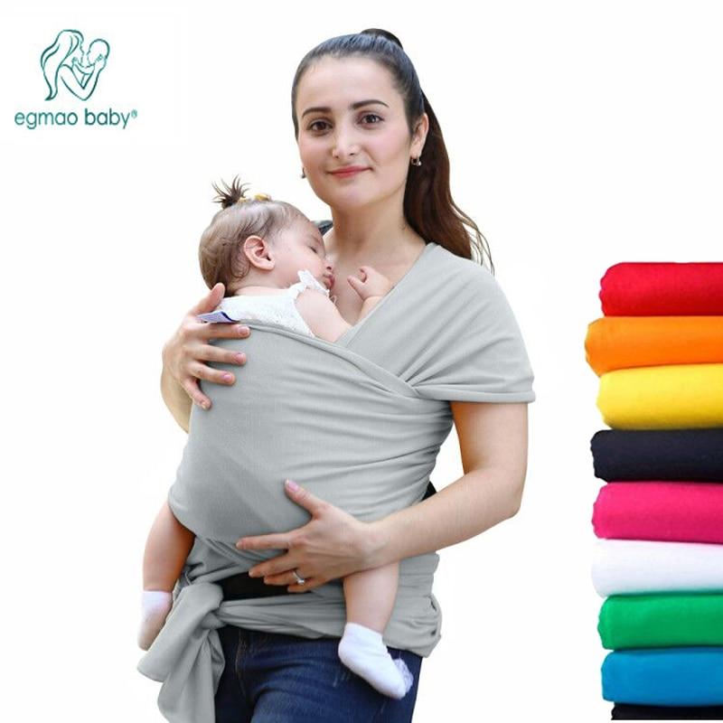 EGMAO moda cómodo bebé Sling Natural suave envoltura portador de bebé 0-3 años de algodón transpirable del abrigo de la enfermería