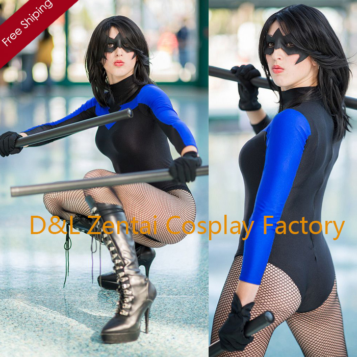 Free Shipping DHL Sexy Sexy BlueBlack Female X,men Nightwing Zentai Costume Lycra Spandex Leotard