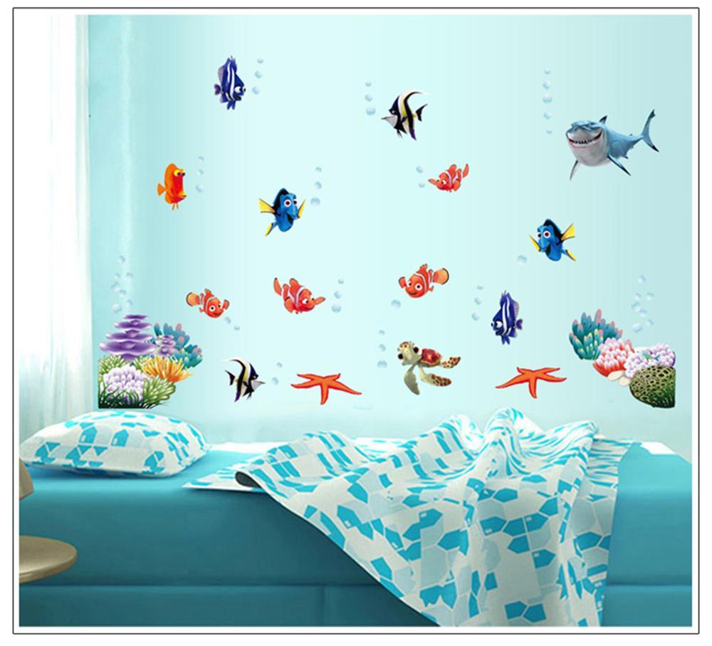 Underwater World D Wall Stickers Sea Fish Star Cartoon Bathroom - Underwater wall decals
