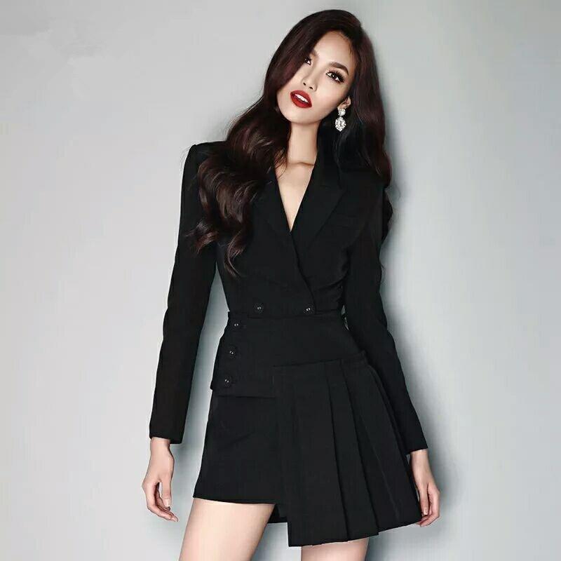 2019 Suit Jacket Women Short Black Fashion Temperament Leisure Two Dresses Fall European American Dress Women Jackets And Coats