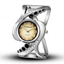 Top De Luxe Strass Bracelet Montre Mode Argent Montre de Femmes Montres Femmes Montres Horloge saat montre femme relogio feminino