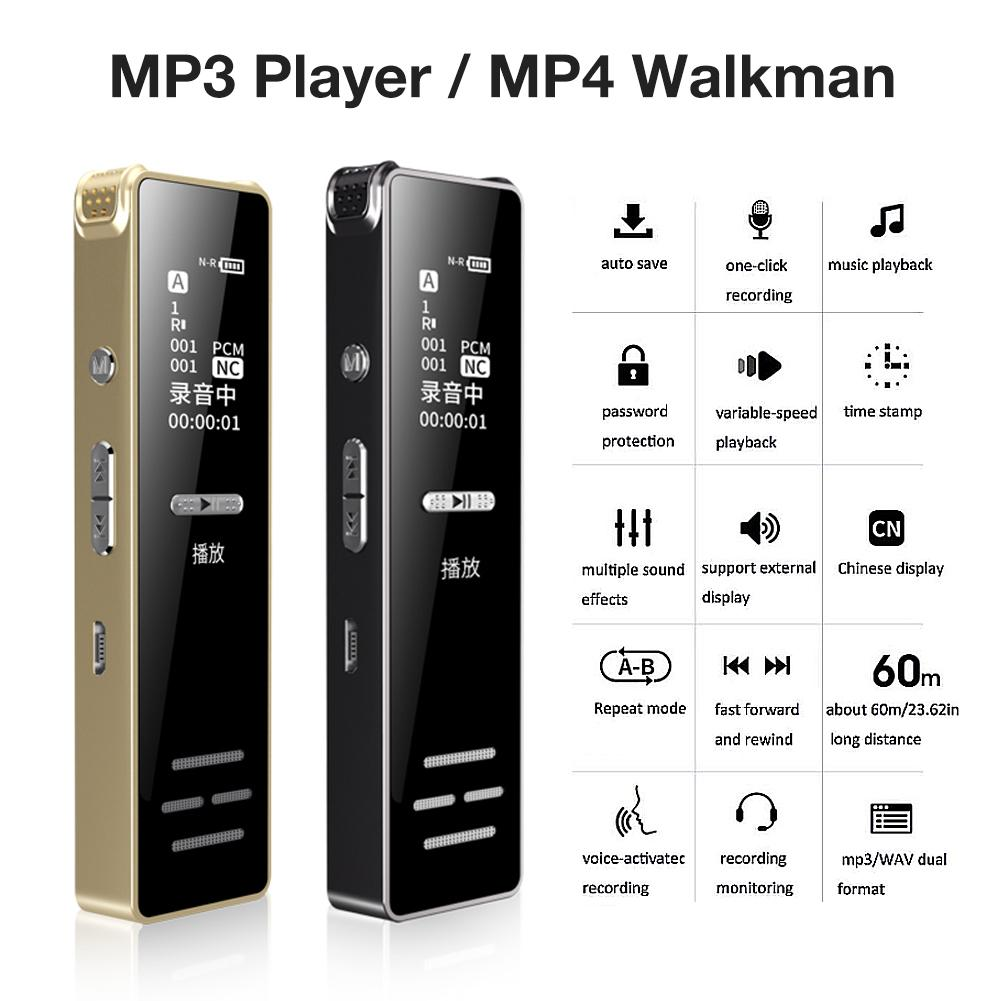 MP4 Player Recording Pen MP3 Music Player With Screen Card Mini Sports Running Portable Media Slim 1 Inch MP3