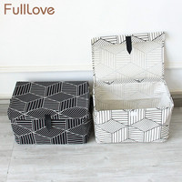 FullLove Geometric Toys Storage Basket Linen Cotton Black White With Cover Storage Box Bins Clothes Stationery