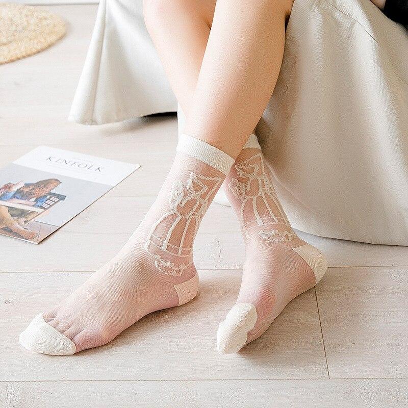 Women Socks 1 Pair 2019 Spring New Girl Color Women Fashion Long Cute Socks For Woman Breathable Transparent Korean Style