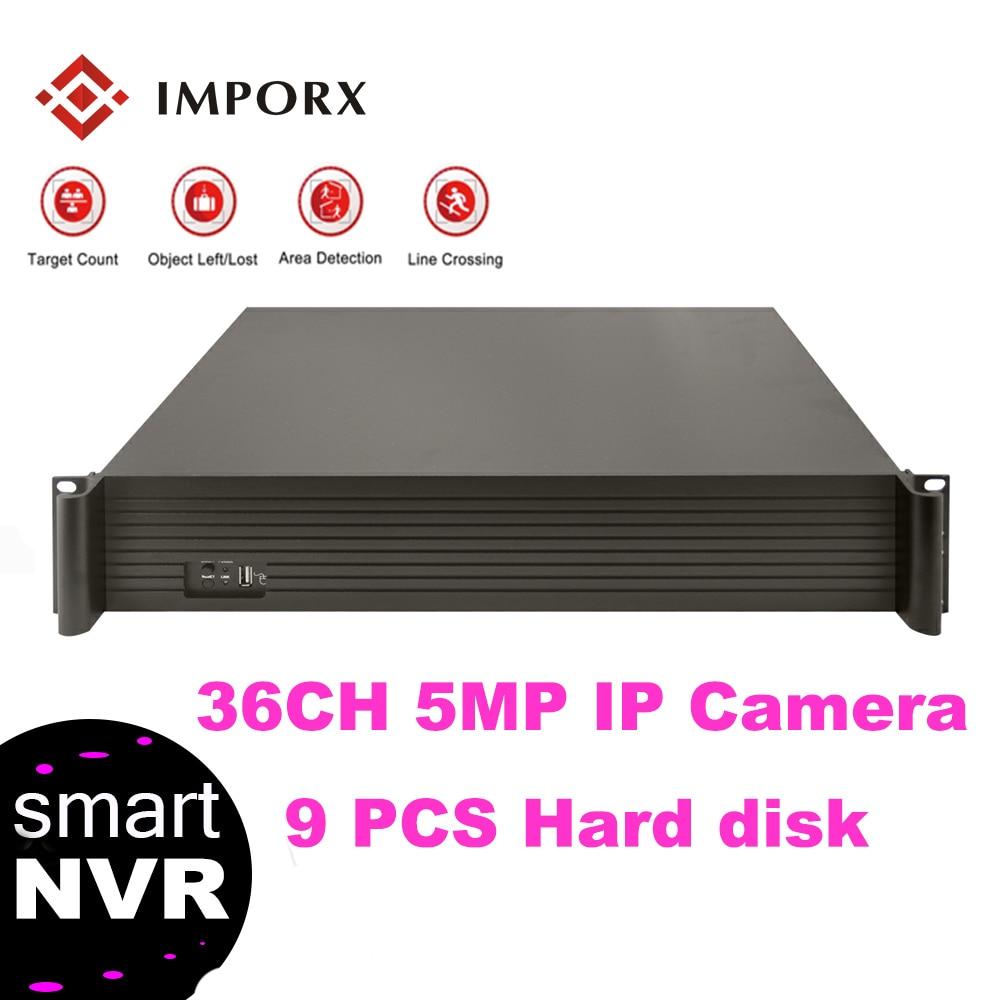 IMPORX 9 PCS SATA Port UP To 8TB Super HD 36Ch Real P2P Standalone CCTV NVR For 1080P IP Camera Onvif DVR PTZ H.265+/H.265/H.264