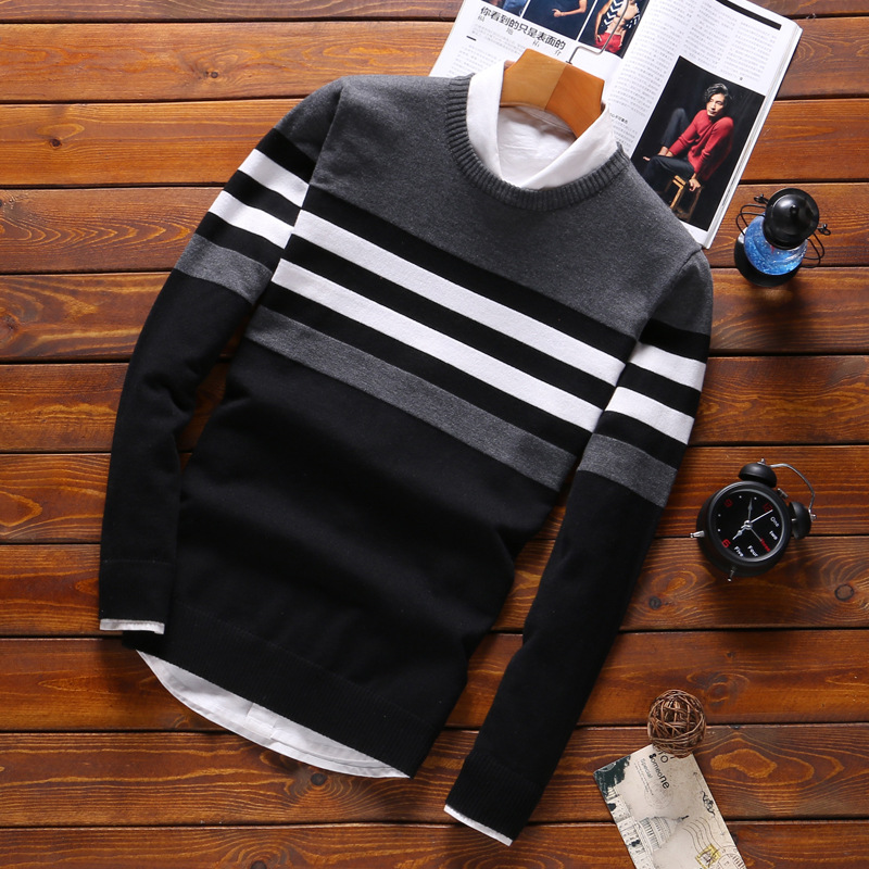 Male Knitwear Warm Slim Round Collar Sweaters 2019 Autumn Spring Streetwear Fashion Stitching Sweater Men Cotton Casual Clothing