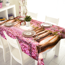 3D Tablecloth Merry Christmas Blooming Cherry Trees Pattern Waterproof Cloth Thicken Rectangular and Round Wedding Table Cloth