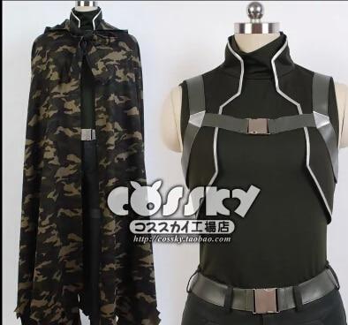 Anime Sword Art Online 2 SAO cosplay costume GGO Phantom Bullet black cloak coat battle fatigues army camouflage set