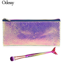 ODESSY Novelty Glitter Makeup Brush Organizer Bag Mermaid Make Up Brush Set Eye shadow Eyebrow Blush Portable Cosmetics Case
