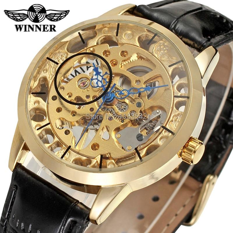 100% QualitäT Männer Luxus Gold Skelett Legierung Fall Mechanische Hand Wickler Reloj De Moda Top 10 Der Marke Gewinner Wasserdichte Uhr Hochglanzpoliert