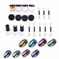 19Pcs/Set Nail Art Set Magic Mirror Glitter Powder Dust Chrome Pigment Metallic UV Gel Polish With Brush Nail Art Accessories