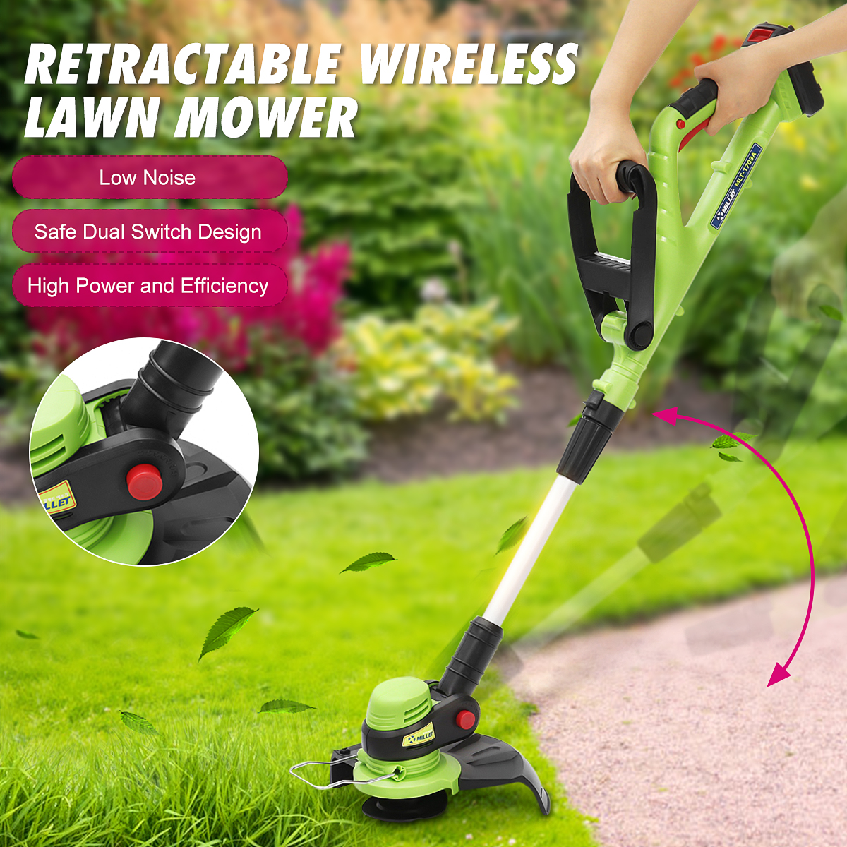 Electric Lawn Mower Wireless  Grass Trimmer Outdoor Lawnmower 20V 2000mAh 12500rpm Cordless Adjusted Grass Cutter Garden Tools