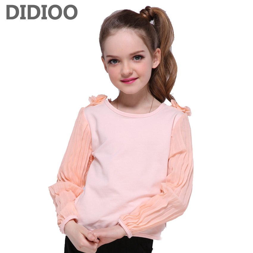 Kids T-shirts for Girls Cotton Tees Full Sleeve Tops for Children O-neck Clothing Teenage Flower Shirts Girls Tops 4 10 14 Years