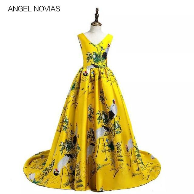 23cf5b935c Long Yellow 3d Print Flower Girls Dresses 2018 Girls Pageant Dress Prom Dresses  Robe Fille Robe Enfant Fille Mariage
