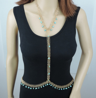 New Simple Crystal Body Chain Jewelry Necklace Gold Beach Jewelry BC 502 Free Shipping