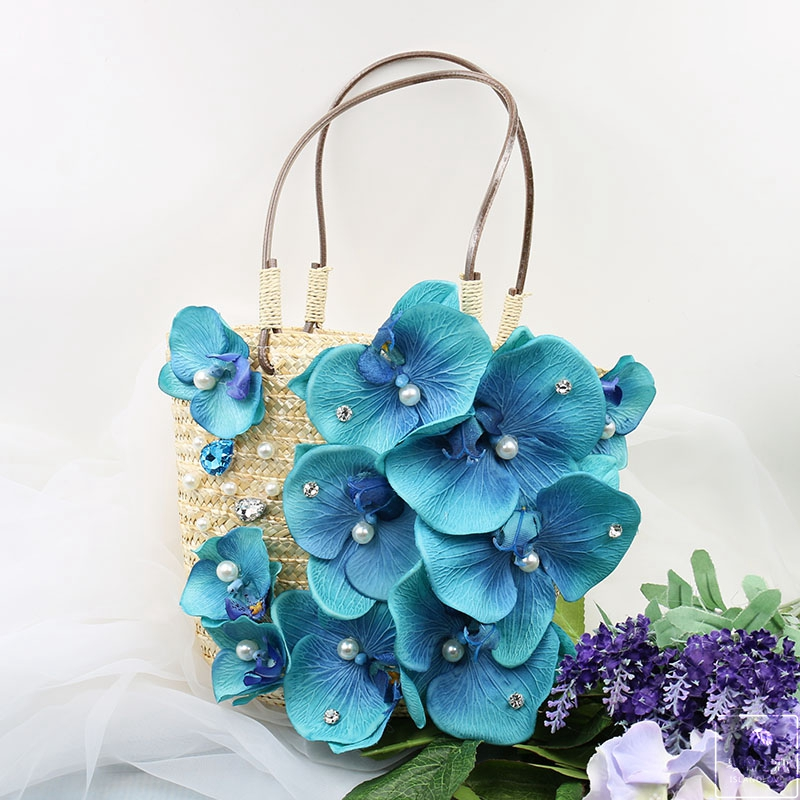2019 fatti a mano di estate portatile delle donne del fiore di paglia borsa da spiaggia sacchetto tessuto