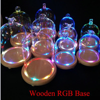 Wedding Centerpiece RGB Flashing Woooden Base Glass Vases Micro Landscape Glass Vase Round Crystal Tabletop Flower
