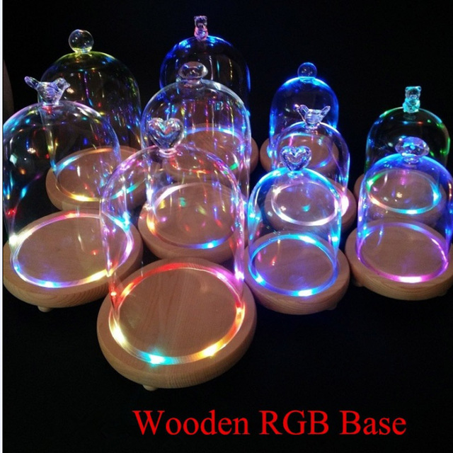 Round Glass Vases DIY Everlasting Flower Glass Vase Wedding Desk Decor Tabletop Vase Wooden Base RGB Miniatures for Terrariums