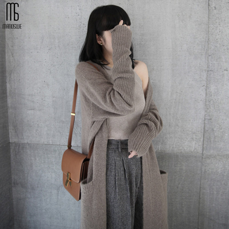 Manoswe Spring And Autumn 2019 Hot Sale Women Casual Knitted Long Cardigan Open Stitch Loose Knit Sweater Pocket Knitted Jumper