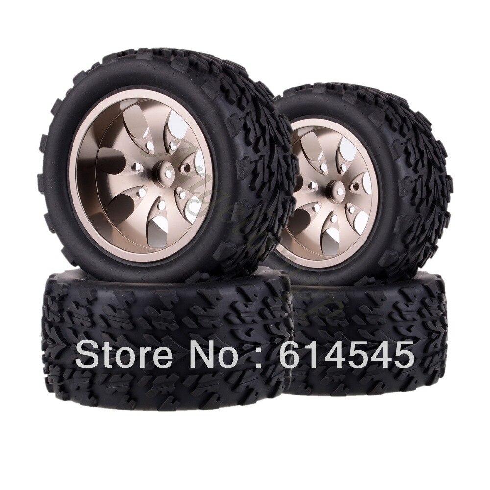 4xRC Monster Truck Bigfoot Metal 1:10 Wheel Rim & Tyre Tires 12MM HEX 88118 4pcs lot 2 2 rubber tires tyre plastic wheel rim 12mm hex for redcat exceed hpi hsp rc 1 10th off road monster truck bigfoot