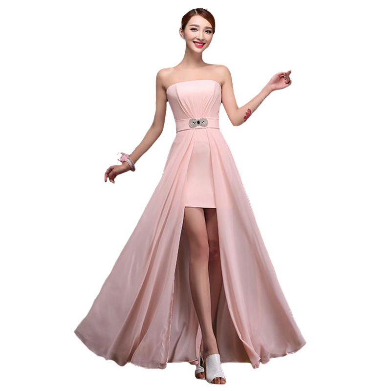 Long   Bridesmaid     Dresses   2016 Elegant Moderator Vestido De Festa Longo Slim Strapless Wedding Party   Dress   Hot BV06