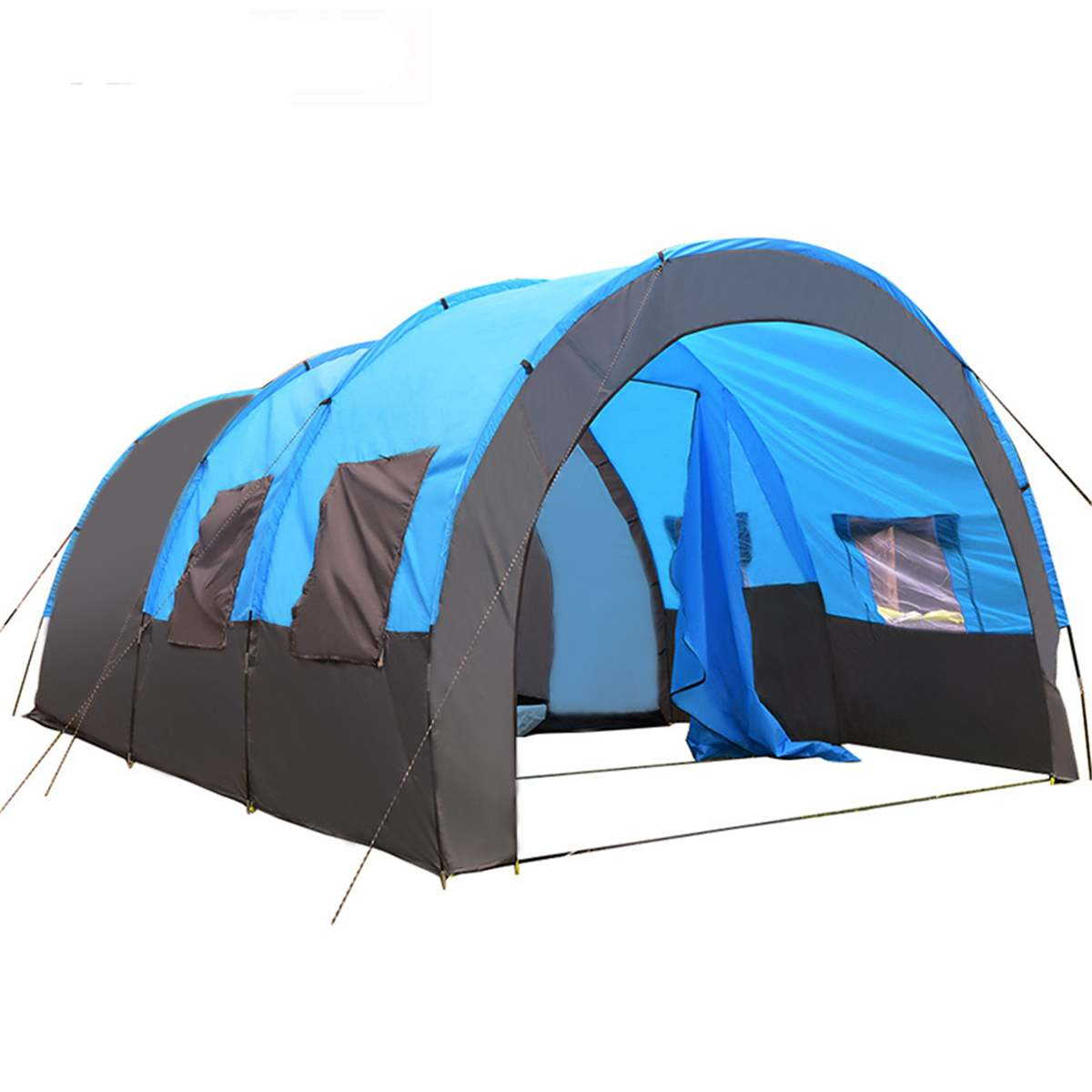 Large Camping Tent Waterproof Canvas Fiberglass 8-10 People Double Layer Large Family Tent Sunshade Outdoor Equipment