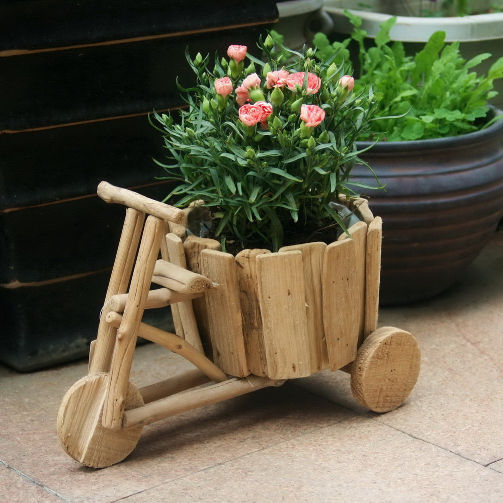 Diy Creative Ideas Flowerpot Handmade Wooden Carts Green Flower Pots Vases Three Home Gardening In Planters From Garden On