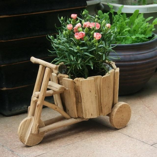 DIY creative ideas flowerpot handmade wooden carts green flower pots vases three home gardening & DIY creative ideas flowerpot handmade wooden carts green flower pots ...