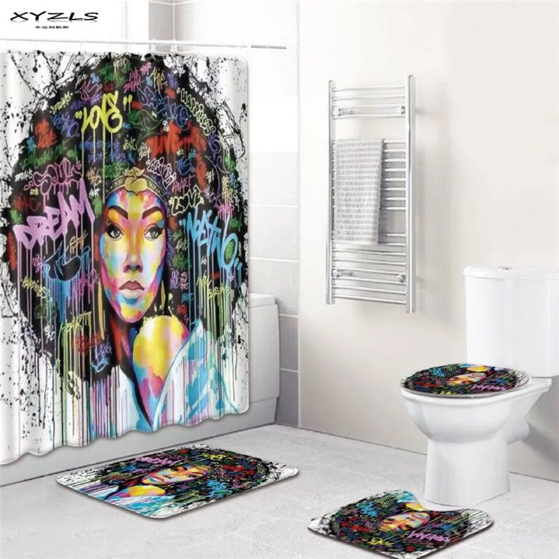 African American Shower Curtains Set Polyester Bathroom