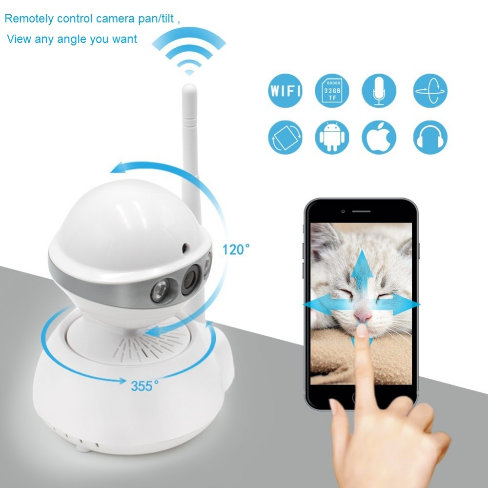 720P CCTV Home Security IP Camera Wireless Audio MIC Mini Night Vision Surveillance Network WIFI IP Camera Wi-fi HD Baby Monitor wireless ip camera hd 180 degree panoramic home security camera 720p baby monitor night vision wi fi camera remote control