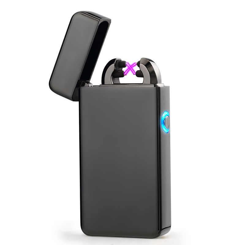 USB зарядка Зажигалка изогнутый вдвое пожарная плазменная электронная сигарета импульсная Зажигалка курительный кальян табак, трава подарочный кейс для сигар