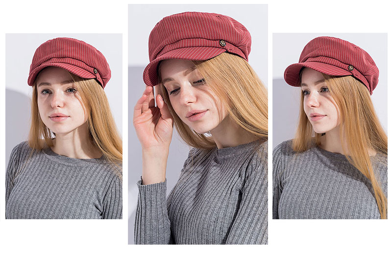 605705a14 Russian popular Women Military Cap Flat Top Army Navy Caps Fashion Stripe  Hat Black Blue Red Color Visors Student Newspaper Cap