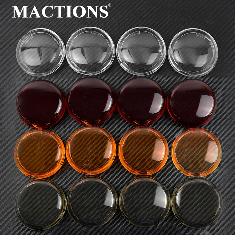 MACTIONS 4PCS Turn Signal Light Indicator Lens Cover For Harley Sportster 883 1200 Touring Road King Dyna Heritage Softail(China)