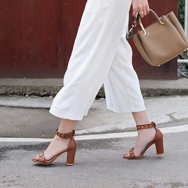 Plus Size 34 48 New Fashion ankle strap women sandals Summer Open Toe square high heels sandal dress party shoes Gladiator Pumps in High Heels from Shoes