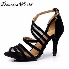Cheap Latin Dance Shoes For Women 8.5cm Heel Soft Sole Satin Black Shoe For Zapatos De Mujer Ladies Ballroom Dancing Shoe 1109