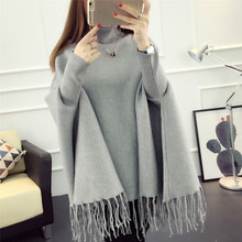 OLGITUM 2017 New Spring Autumn Winter Women Sweater Tassels Poncho batwing sleeve Long Knitted Pullovers Knitted Coat SW091(China)