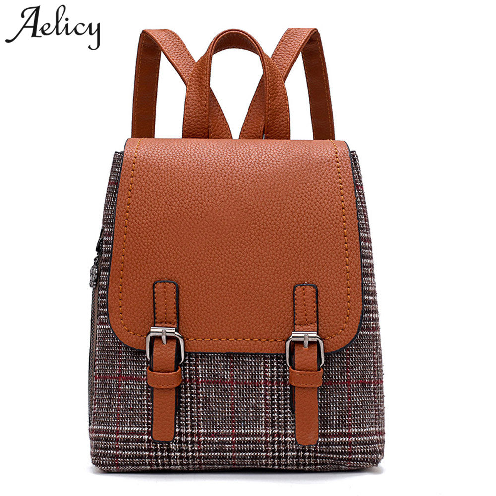 Aelicy Brand Women Leather Backpacks Vintage Fashion Women Backpack High Quality Youth Leather Plaid Women Rucksack For Girls