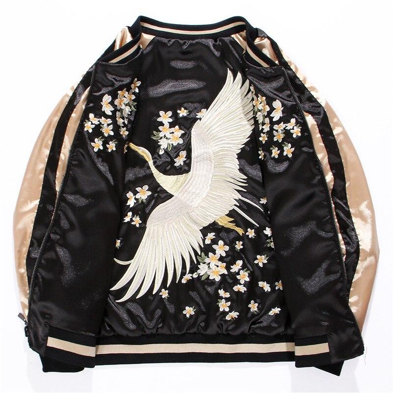 Yokosuka Crane chaqueta voladora bordada para mujer y hombre chaqueta de satén corta traje de béisbol estilo de los amantes de la primavera talla grande ajuste 4XL-in chaquetas básicas from Ropa de mujer    2