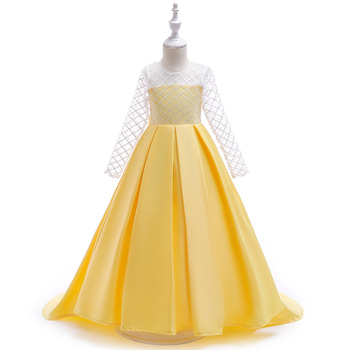 Flower Girl Dress For Wedding Long Styel 2019 Yellow  New Satin eenage Formal Gown Kids First Communion Dresses White Hot