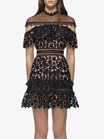 Summer Short Mini Dress Black Sheer Ruffle Mesh Dress Star Overlay Aline Dress