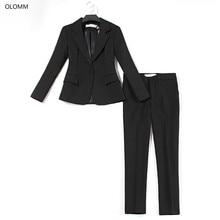 Women's business suit High quality black one button blazer suit Slim pants set 2019 autumn two-piece suit suits lady suit office цена