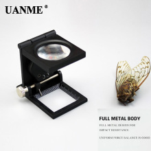 UANME 22MM 8X Folding Linen Tester Mini Pocket Metal Magnifiers Cloth Thread Counter Magnifier Magnifying Glass 8x folding magnifier with scale