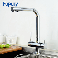 Fapully Kitchen Filter Faucet Chrome Finish 360 Degree Rotating Drinking Water Mixer 3 Way Sink Faucets 643-33C
