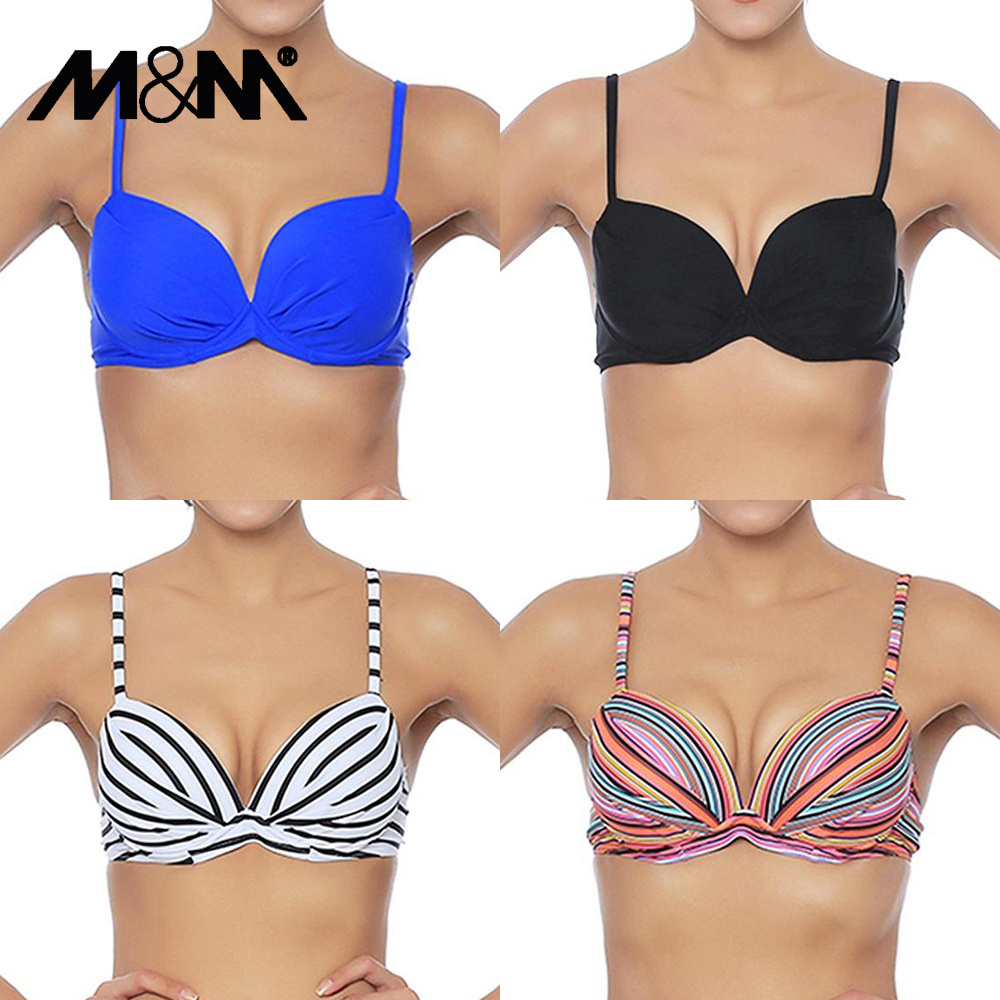 Sexy Swimsuit Tops Bikini-Top Ruched Underwire Push-Up Women Print T602 M--M Straps Adjustable