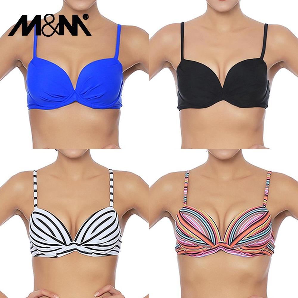 M&M Women Bikini Top Ruched Print Sexy Swimsuit Tops Underwire Micro Bikini Adjustable Straps Women Push Up Girls Swimwear T602