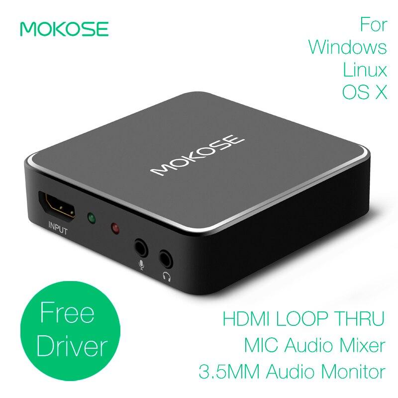 Linux MOKOSE USB3.0 HDMI//SDI Video Capture Card for Windows HD Loop Thru Game Dongle Grabber Device 1080P 60fps UVC Free Driver Box OS X Mac